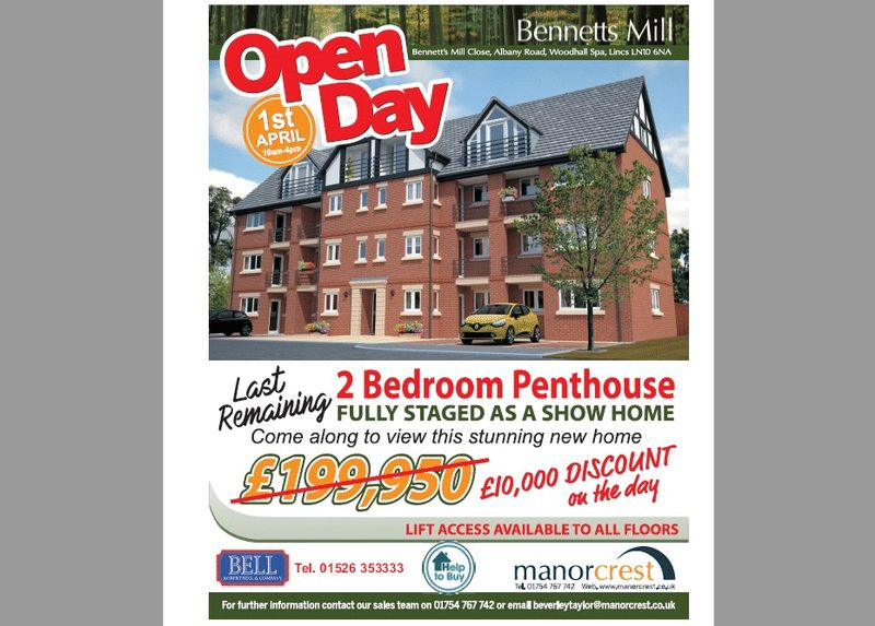 2 Bedrooms Flat for sale in Bennetts Mill Penthouse Apartment 13, Bennetts Mill Close, Woodhall Spa